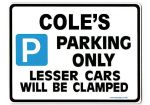 COLE'S Personalised Gift |Unique Present for Him | Parking Sign - Size Large - Metal faced